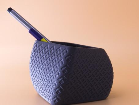 A desktop Pencil stand with a motif.