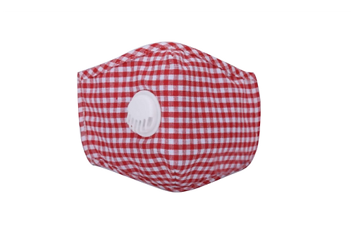 Red & White Gingham Cotton Face Mask with Vent Valve
