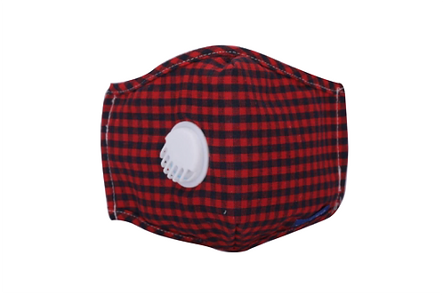 Red & Black Gingham Cotton Face Mask with Vent Valve