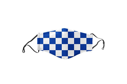 Blue & White Checkerboard Face Mask