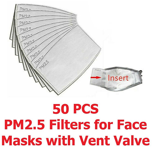 50 PCS PM2.5 Filters for Adult Face Mask