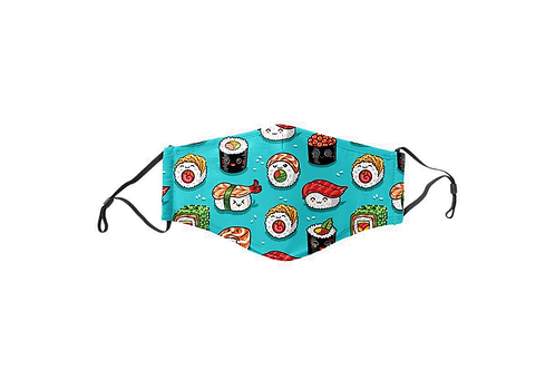 Teal Sushi Kids Face Mask