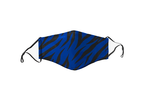 Black & Blue Tiger Stripes Face Mask