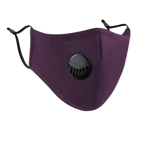 Purple Cotton Face Mask with Vent Valve