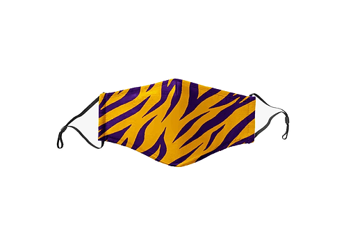 Purple & Gold Tiger Stripes Face Mask