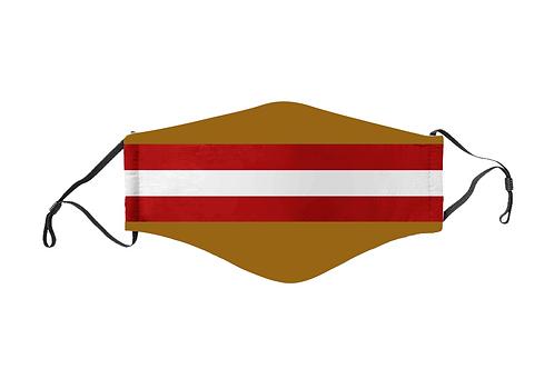 Red & Dark Gold Stripes Team Mask