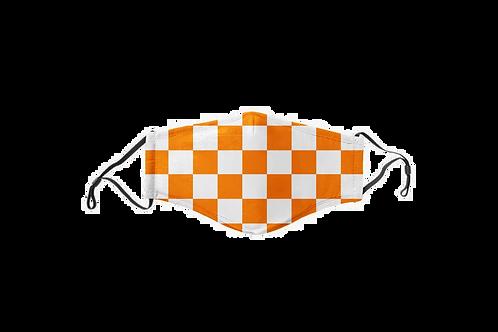 Orange & White Checkerboard Face Mask