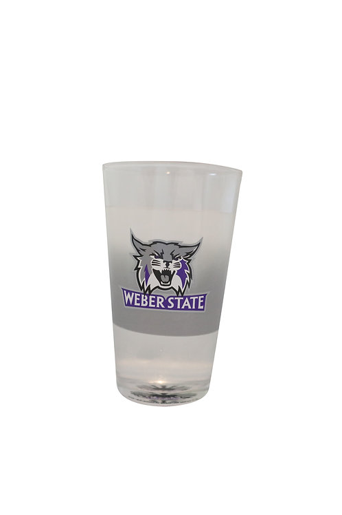 weber state university wildcats logo cold color beer changing pint glass