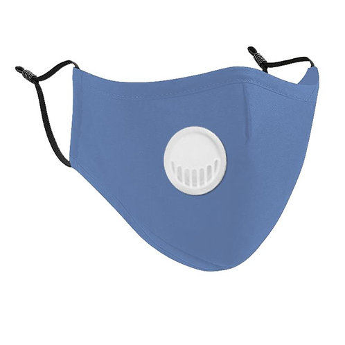 Light Blue Cotton Face Mask with Vent Valve