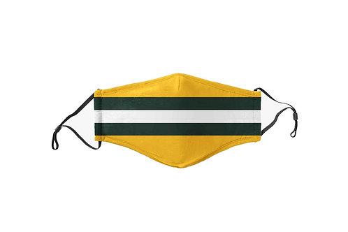 Kids Green & Yellow Stripes Team Mask