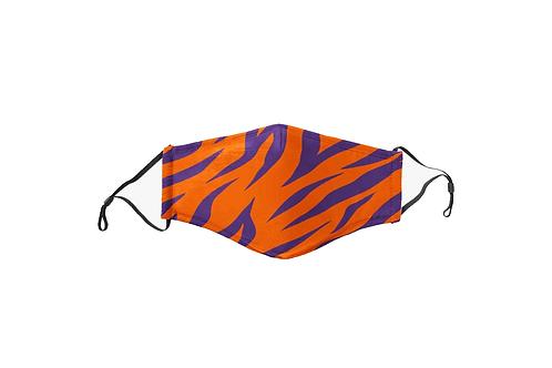 Purple & Orange Tiger Stripes Face Mask
