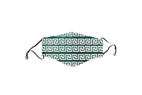 Green Spiral Greek Key Face Mask
