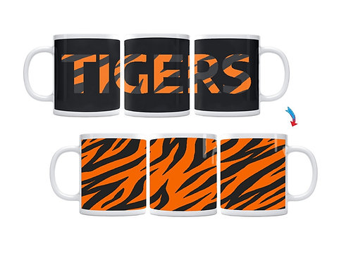 Black & Orange Tiger Stripes ThermoH Exray Mug