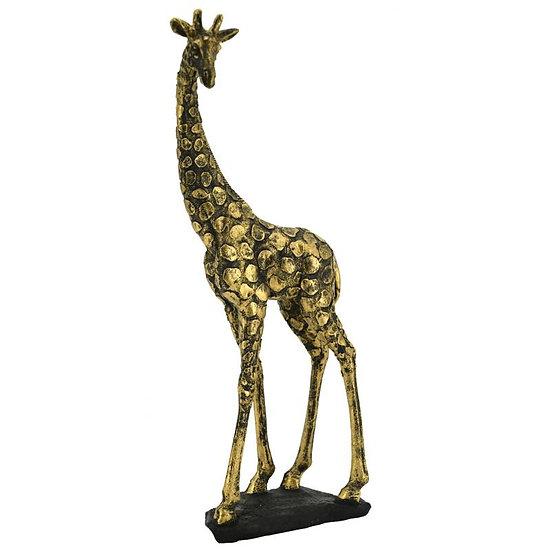 Girafe à poser en résine dorée antique
