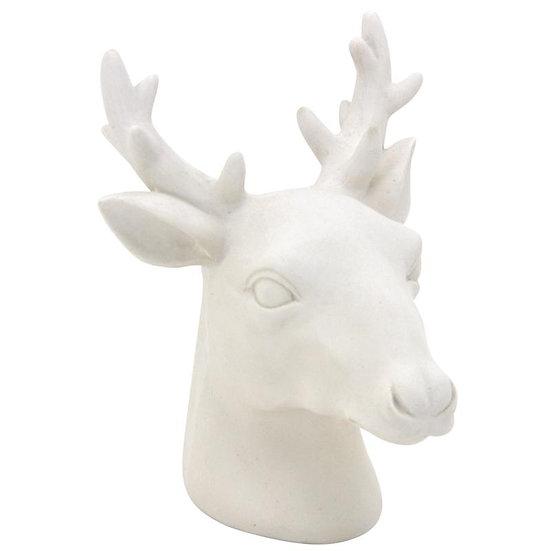 Tête de cerf en résine blanche