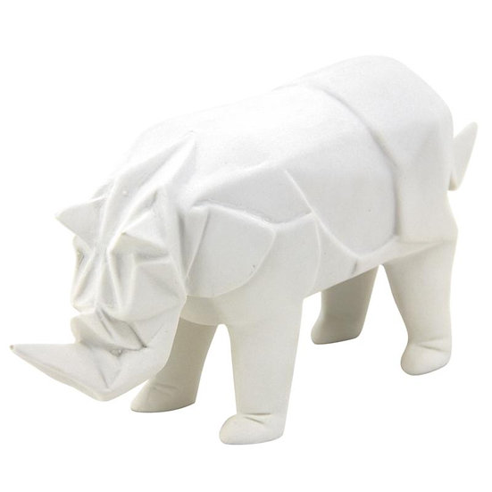 Rhinoceros en résine blanche