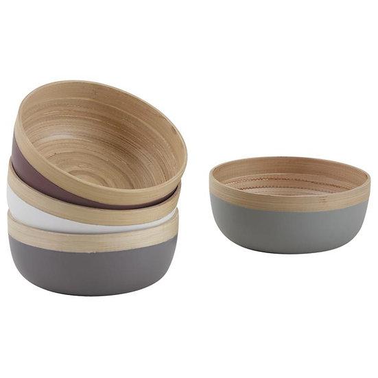 Corbeille ronde en bambou naturel et laqué