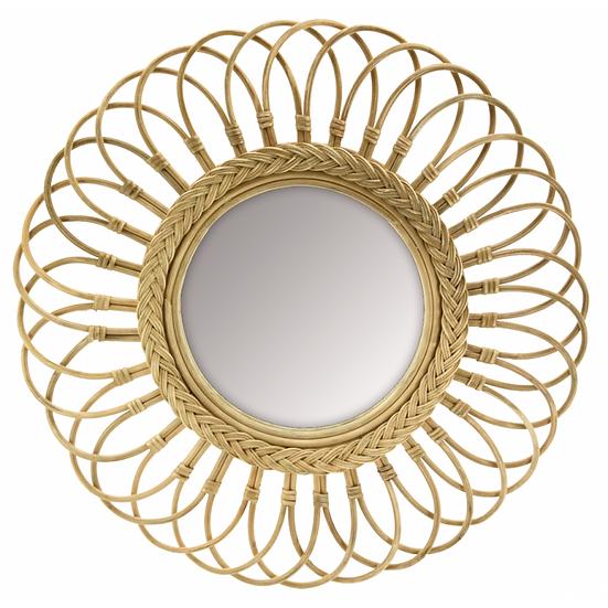 Miroir marguerite en moelle de rotin