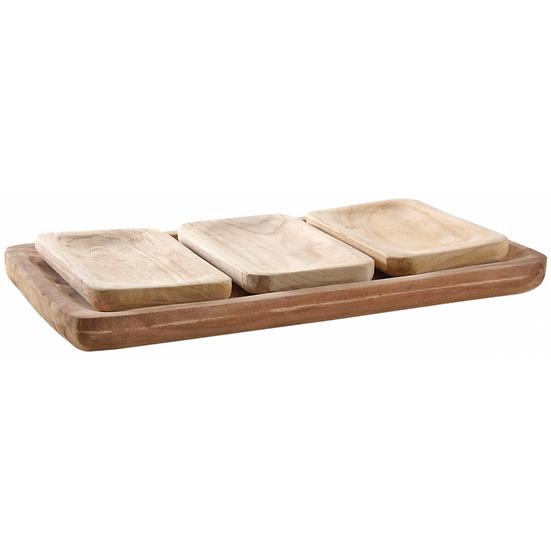 Plateau rectangulaire et corbeilles assorties en bois