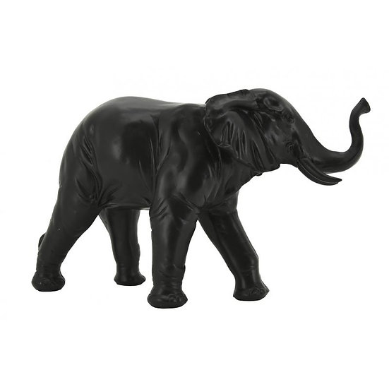 Eléphant à poser en résine teintée noire