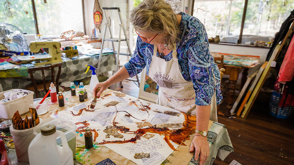 Therese Flynn-Clarke creating artworks for her solo exhibition
