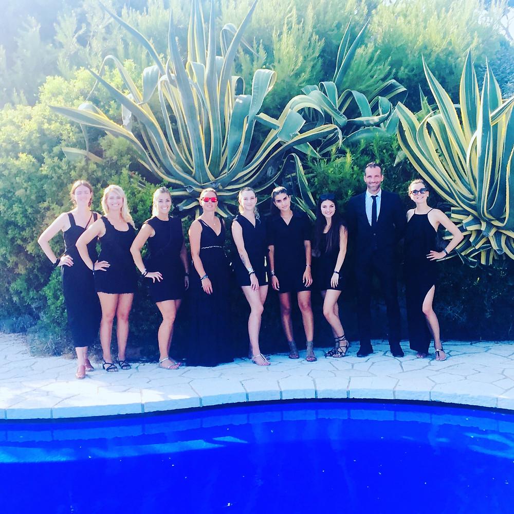 Hostess team by the famous Villa Dorane pool