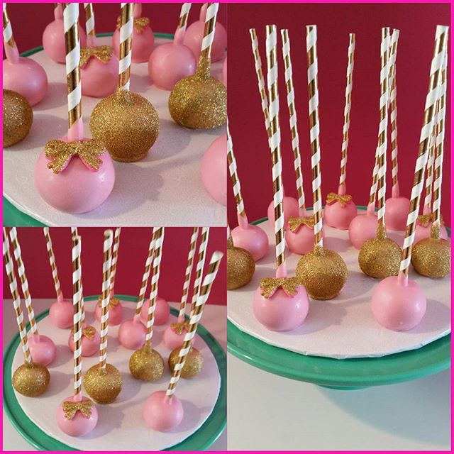 Light Pink & Gold Blingy Cake Pops _Www.shortcakeb.com _#branding #shortcakeB ShortcakeB_gmail