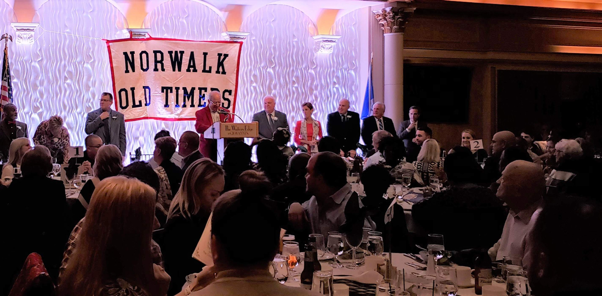 2019 Norwalk Old Timers honorees are welcomed to the stage.  (photo by Anna Mastrolillo)