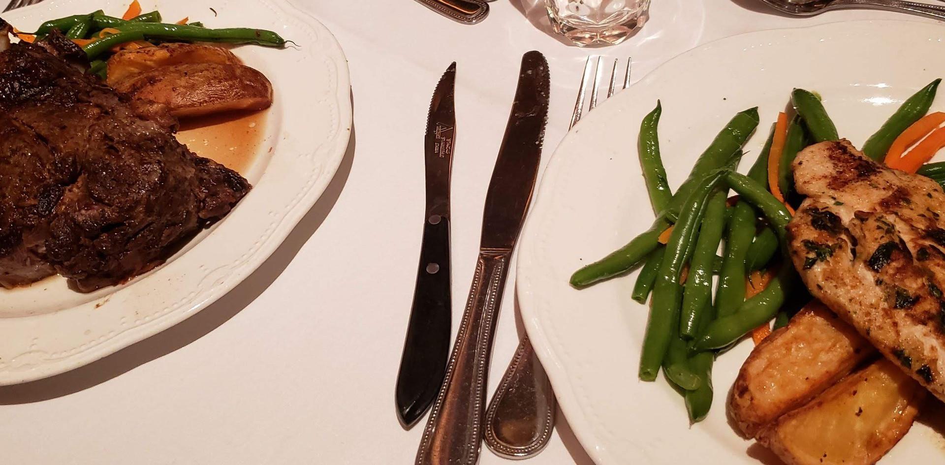Prime rib and chicken dinners were delicious!!   (photo by Anna Mastrolillo)