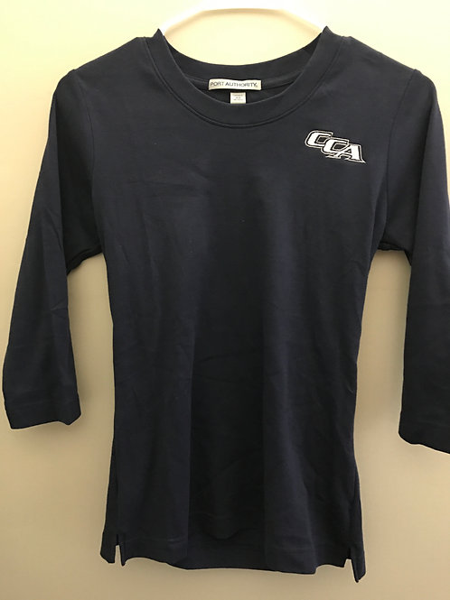 Ladies 3/4 Fitted Navy Shirt