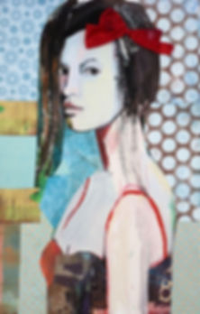 Carolyn Schlam THE RED BOW , OIL, COLLAG