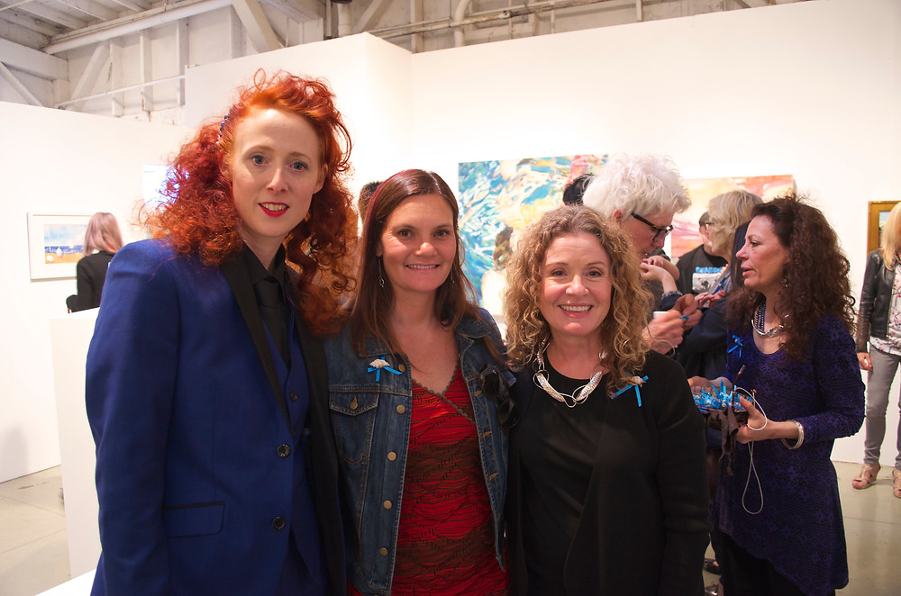 Vikki Paschetto, Executive Director of LA Waterkeeper Liz Crosson, Studio C Gallery Director Peggy Nichols, (background left to right: Participating Artists Sierra Pecheur and Robyn Nichols)