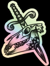 Skull & Dagger Holo Sticker