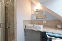 Salle d'eau bleue - douche 90 x 90