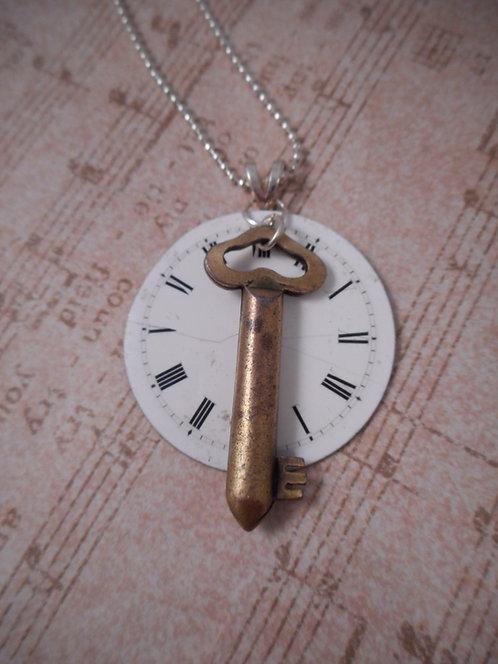 Pocket Watch Face and Vintage Key