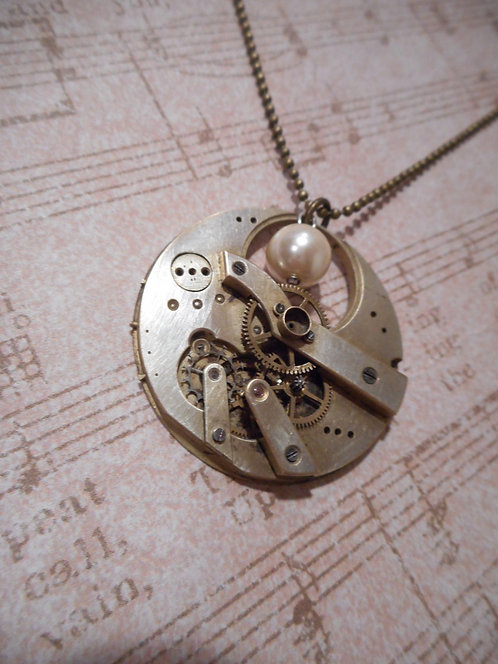 Steampunk Pocket Watch Necklace with Pearl
