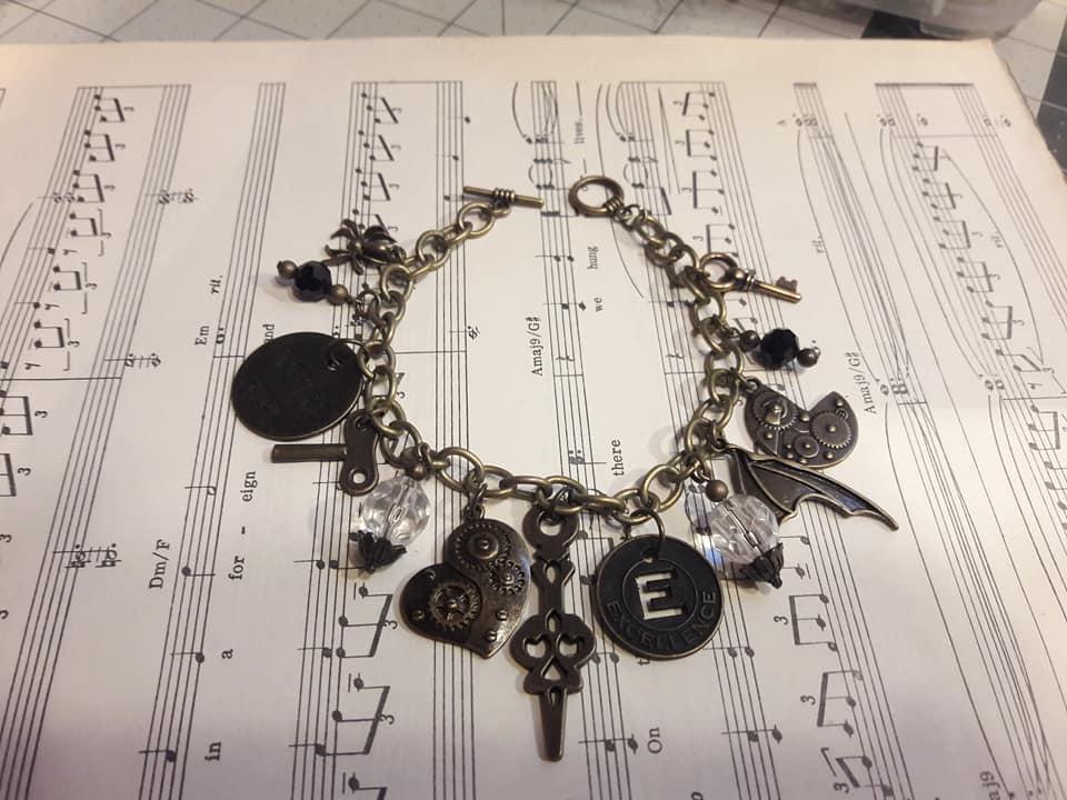 """Steampunk Charm Bracelet """"E"""""""