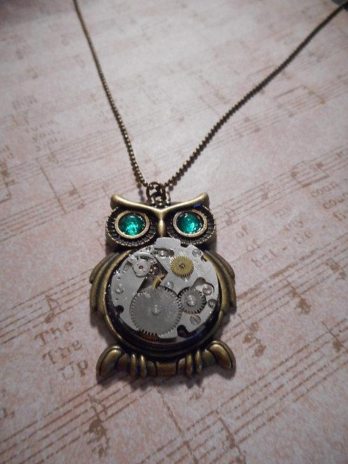Steampunk Owl with Big Green Crystal Eyes