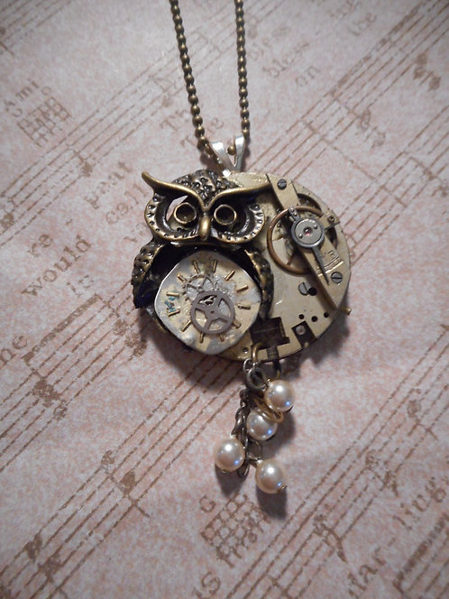 Steampunk Owl with Mini Pearls and Gears