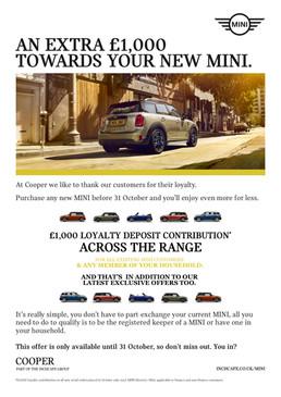 MINI Loyalty Deposit Contribution