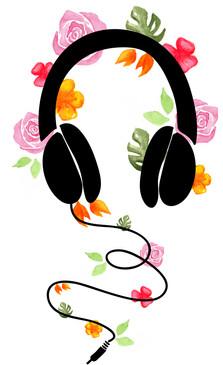 Headphones floral illustration