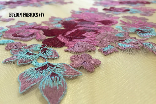Plum Tri Tone Turkish Lace