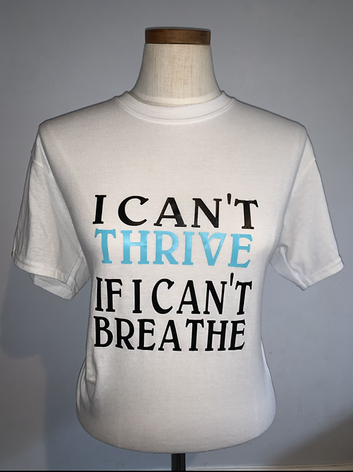 Can't Breathe Tee: White w/Teal