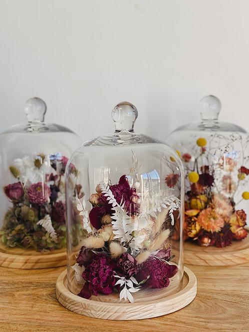 DRIED ARRANGEMENT IN GLASS CLOCHE