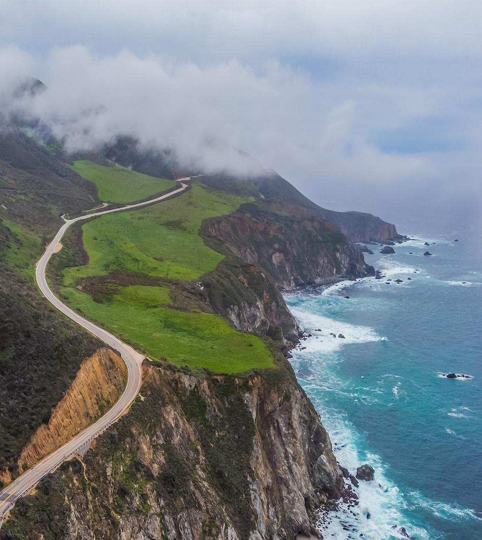 Aerial View Drone Shot of Big Sur Coastline Pacific Coast Highway California
