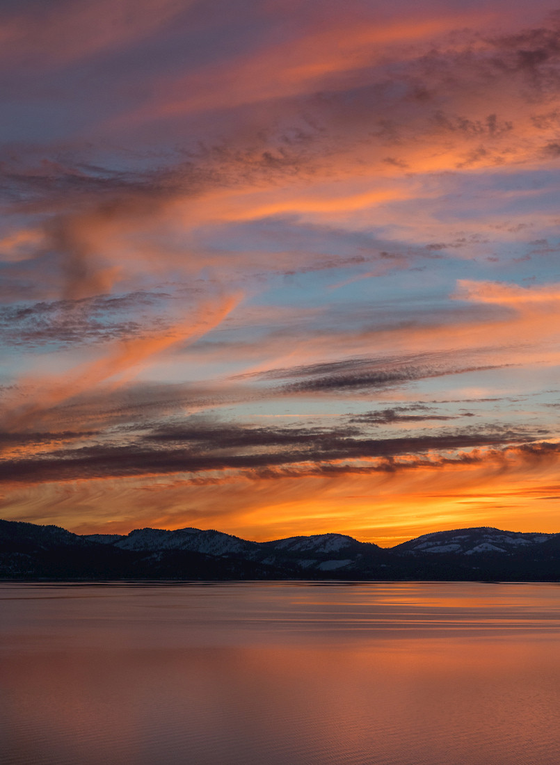 Winter Sunset in Lake Tahoe California