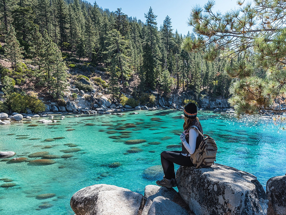 Turquoise water at Secret Cove in Lake Tahoe Nevada