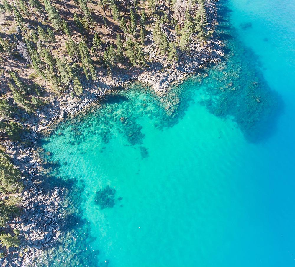 Aerial view of Skunk Harbor in Lake Tahoe