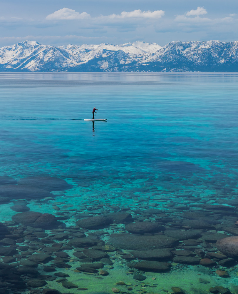 Pretty beach in Lake Tahoe.  Turquoise water at Sand Harbor in Lake Tahoe Nevada