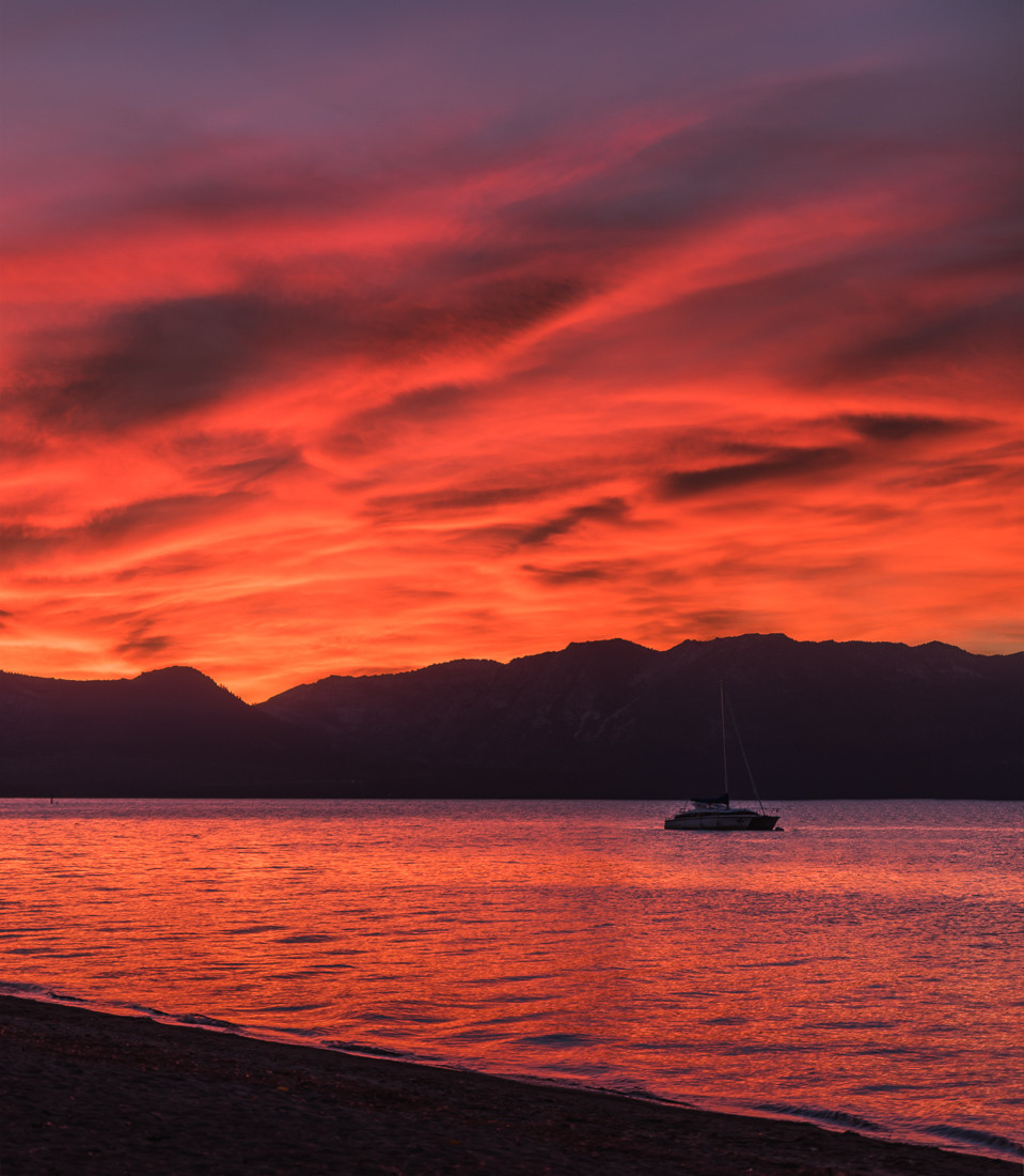 Red sunset at timber cove in Lake Tahoe